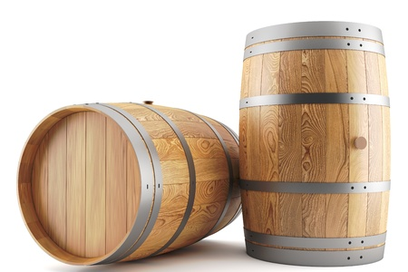 3d render of two wine barrels Stock Photo