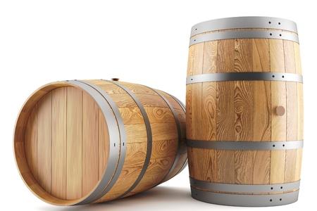3D render van twee wijn vaten