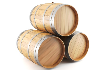 3d render of a group of wine barrels Stock Photo