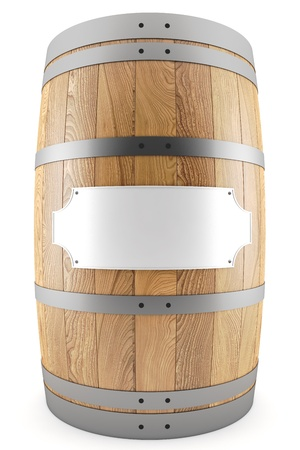 3d render of one wine barrel with label photo