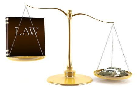 3d render of balance between law and money Stock Photo