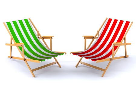 3d render of a modern beach chairs photo