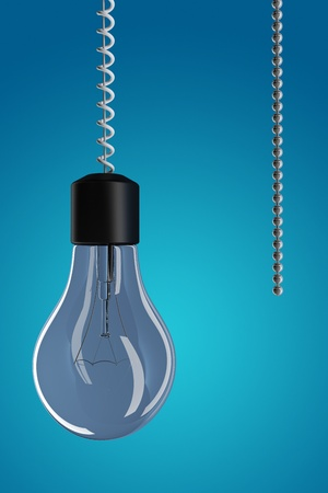 pull: 3d render of a light bulb with chain
