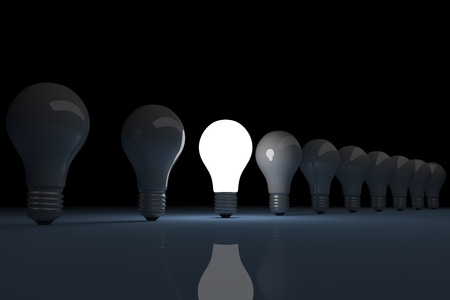 3d render of a bright lit light bulb photo