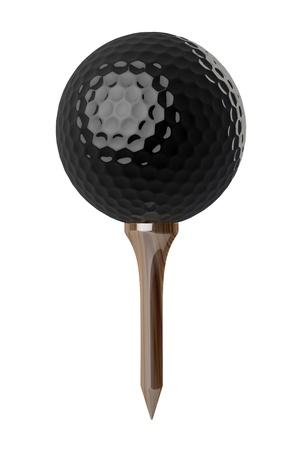 3d Black Golf ball on tee on white background  Stock Photo