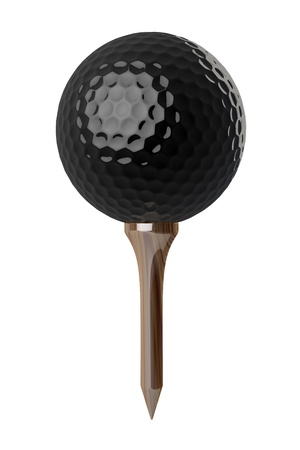3d Black Golf ball on tee on white background  Stock Photo