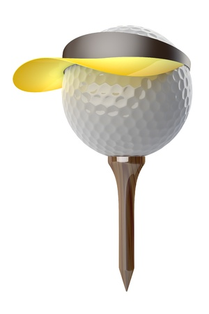 3d golf ball wearing cap on white background Stock Photo