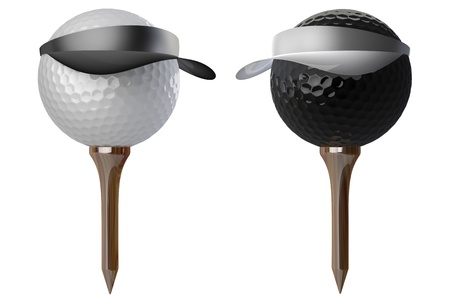 3d golf balls wearing caps on white background