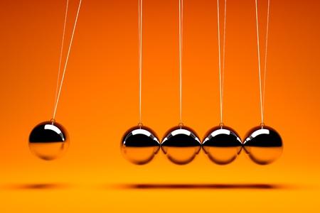 3d render of five metal  balancing balls photo