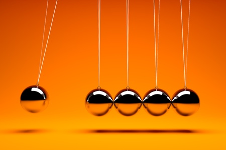 3d render of five metal  balancing balls Stockfoto