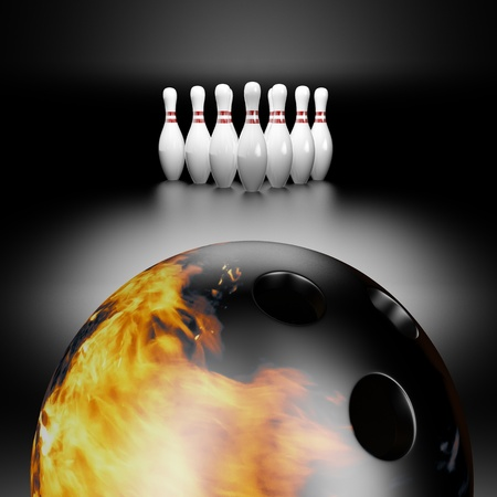 straight pin: 3d render of a fire bowling ball