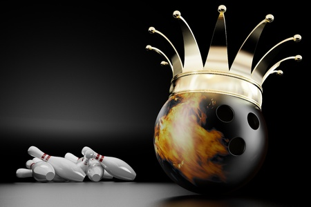 straight pin: 3d render of the bowling ball king