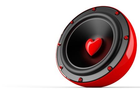 musica electronica: render 3D de concepto de altavoz de amor