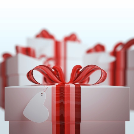 Gift box with Bow & focus on tag of  heart Stock Photo - 9805625