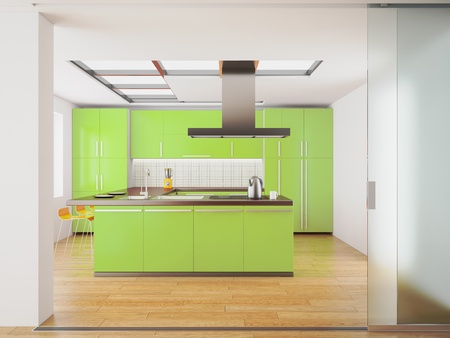3d render of modern green kitchen  photo