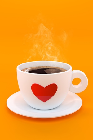 3d render of a cup of hot coffee