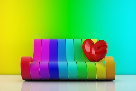 hearts standing on a rainbow couch