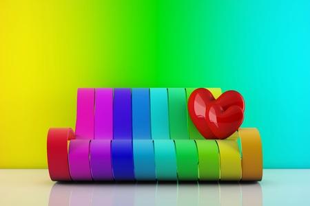 arco iris:  permanente de corazones en un sofá de arco iris