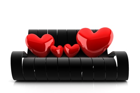 big happy family of four red hearts sitting on a black couch