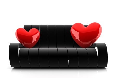 3d render of a black couch with two red hearts Stock Photo