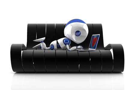 3d render of  a robot sitting on a black couch