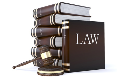 statute: 3d render of a collection of law books and gavel