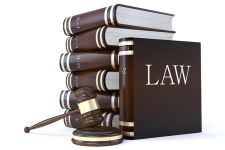 arbitrator: 3D rendering di una collezione di libri di diritto e martelletto