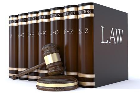 Judges gavel and law books photo