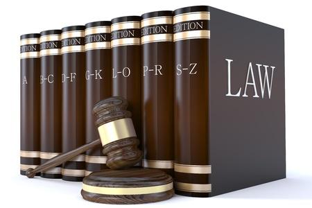 ley: Libros de martillo y el derecho de los jueces Foto de archivo