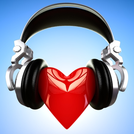 love music: pair of headphones on a big shinny heart Stock Photo