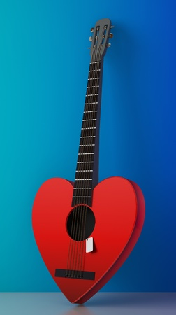 3d render of heart shaped red guitar