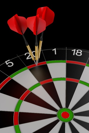 3d render of three darts hitting the perfect score