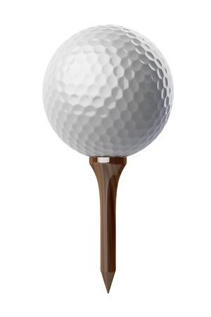 tee: 3d Golf ball on tee on white background