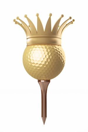 golf equipment: 3d render golf ball on a tee