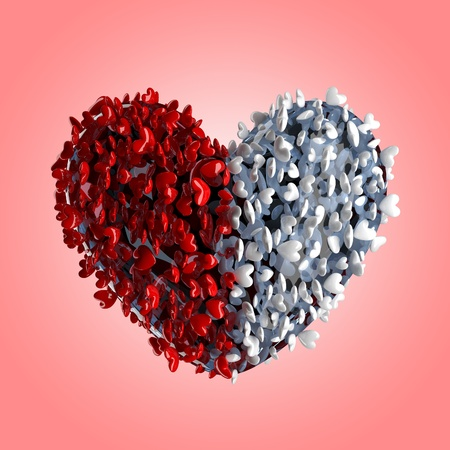 Valentine's day hearts. This is a detailed 3D render  Stock Photo - 9805621
