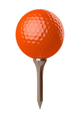 3d render of an orange golf ball on tee