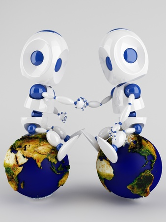 two 3d  robots holding their hands sitting on the world globe photo