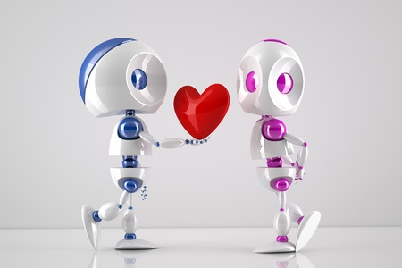 robot offering his heart to its lover photo