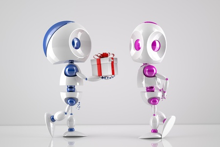 robot offering a gift box to its lover Stock Photo - 9805655