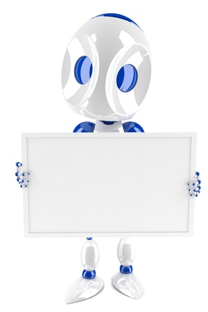3d robot holding and presenting a blank card photo