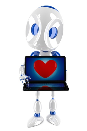 cute 3d robot holding a shiny laptop with red heart  photo