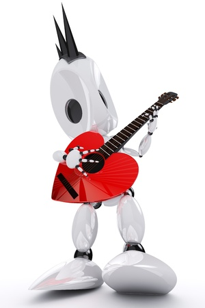 robot rock star playing a heart shaped guitar Stock Photo - 9805623