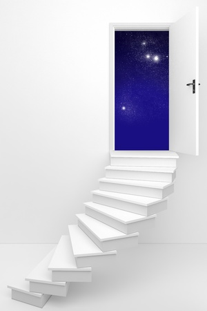 keys to heaven: 3d render of an opened door to a dream night sky