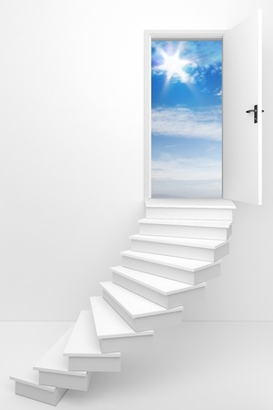 keys to heaven: 3d render of an opened door to a dream day Stock Photo