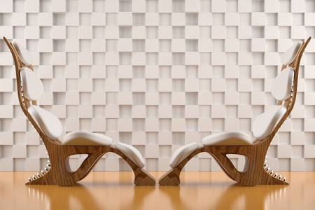 3d render of two relaxing white chairs on white background wall