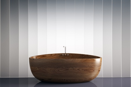 awesome wood bathtub 3d render