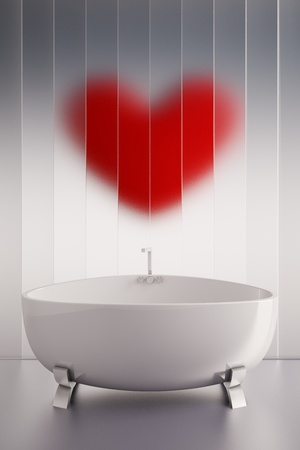 3d render of a ceramic bath tab and a red heart wall Stock Photo - 9801209