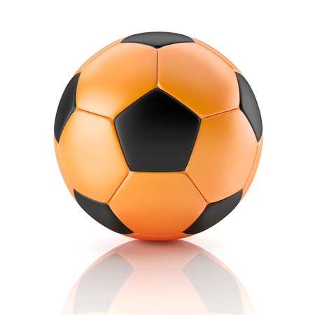 black and orange soccer ball photo