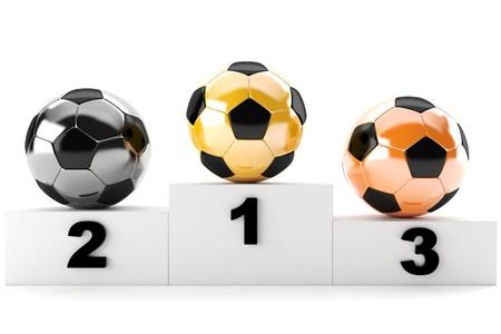 3d soccer balls of gold, silver, bronze photo