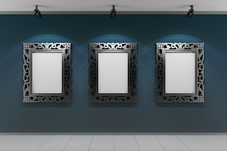 art gallery: empty gallery wall  Stock Photo